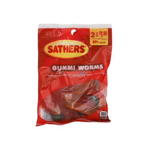 SATHERS GUMMI WORMS 3.25oz