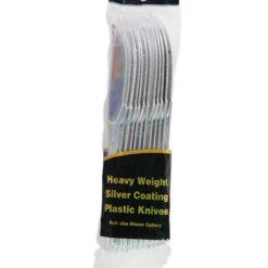QH SILVER PLASTIC KNIVES 12ct