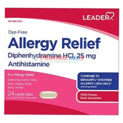 Leader Allergy 25mg 24 liquid gel