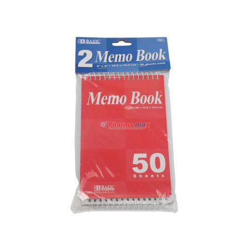 """BAZIC MEMO BOOK 4""""x 6"""" 2ct"""