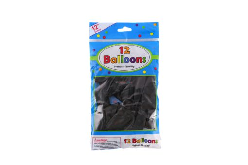 "ALEF BALLOONS BLACK 12"" 12pk"
