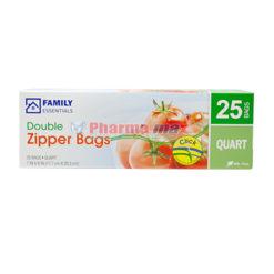 Family Essentials Double Zipper Bag Quart 25ct