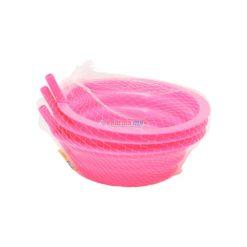 HOME PLAST BOWL W/STRAW 3pk
